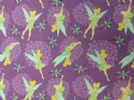 NEW! DISNEY TINKERBELL FAIRY LILAC - Fabric 100% Cotton - Price Per Metre